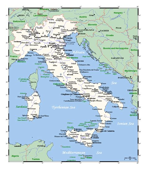 detailed map  italy  major cities italy europe
