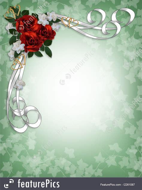 illustration  wedding invitation red roses border