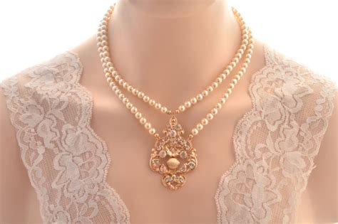 Wedding Jewelry Gold : Rose Gold Bridal Necklace -vintage Inspired Art Deco