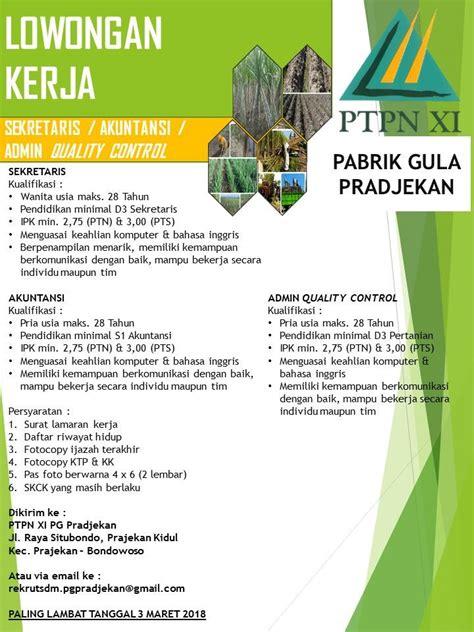 ️ info loker pabrik (#1). Lowongan Kerja Pabrik Gula PTPN XI Prajekan
