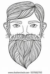 Beard Zentangle Mustache Coloring Portrait Beer Adult Vector Tattoo Craft Doodle Patterned Ethnic Shutterstock Monochrome Drawn Sketch Footage Vectors Illustrations sketch template