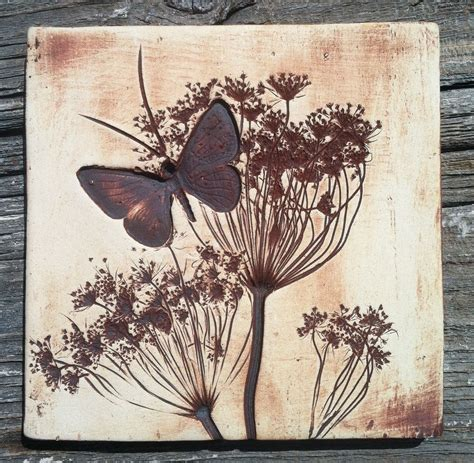 queen annes lace butterfly  tile   etsy