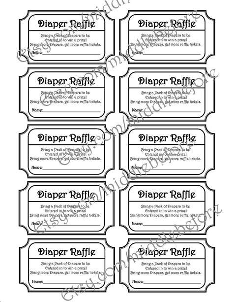 black white printable baby shower diaper raffle ticket