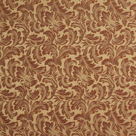 Drapery Fabric By The Yard by F573 Green Orange Ivory Burgundy Floral Upholstery Drapery