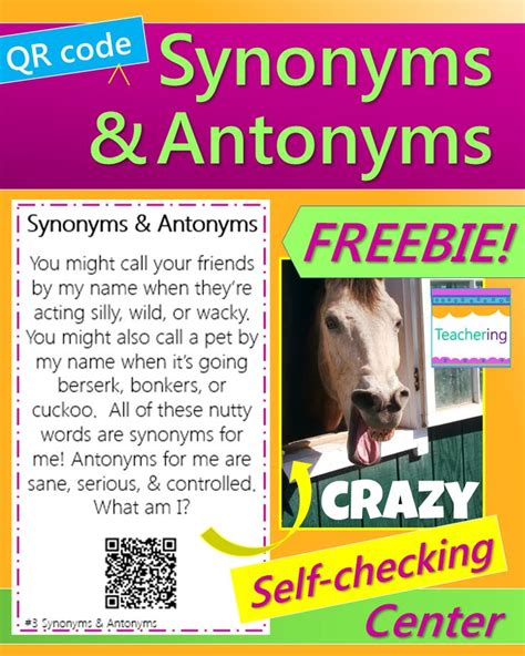 Selfchecking Synonyms And Antonyms Qr Code Activity! This
