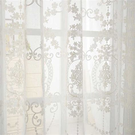 3d embroidery cotton linen fabric white tulle curtain
