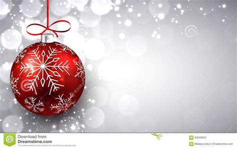 silver christmas background  red ball stock vector