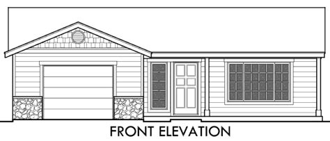 ADU Small House Plan 2 Bedroom, 2 Bathroom, 1 Car Garage