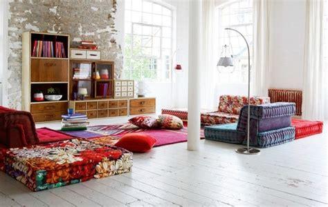 rom canap hippie chic stil i stua 55 friske ideer