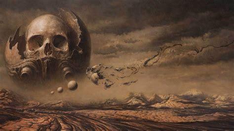 digital art, Artwork, Skull, Planet, Clouds, Nature ...