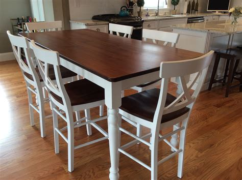 counter height farm table  matching stool set ready