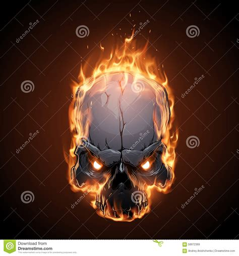 skull  fire illustration stock vector image