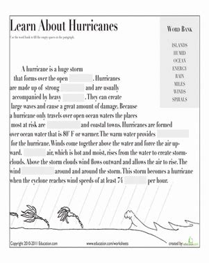 learn about hurricanes worksheet education