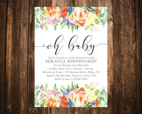 floral baby shower invitation watercolor baby shower