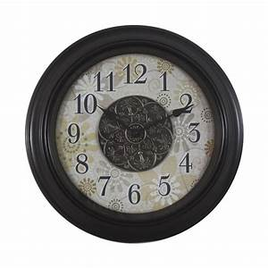 shop decor therapy floral analog round indoor wall clock With kitchen cabinets lowes with clocks wall art