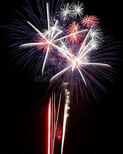 Fireworks Lights Explosions Red White Blue Stock Images ...