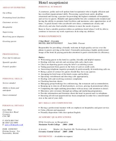 7 receptionist resume objectives sle templates