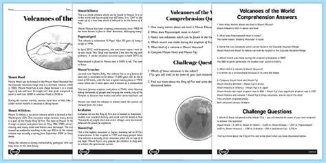 World Volcanoes Reading Comprehension Activity Volcano