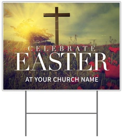 celebrate easter cross yard sign church banners