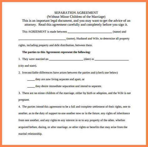 sample separation agreement  children purchase