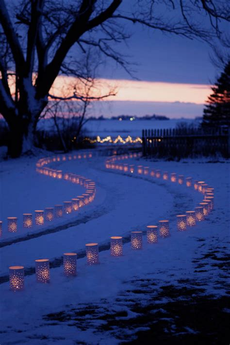 outdoor christmas driveway lights lighted luminary driveway traditional landscape