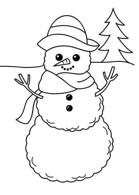 simple snowman coloring page getcoloringpagescom