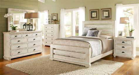 willow slat bedroom set distressed white  progressive