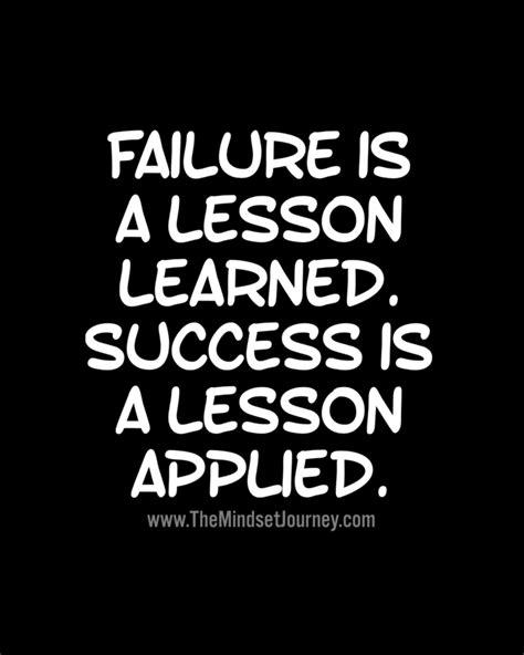 failure   lesson learned success   lesson applied