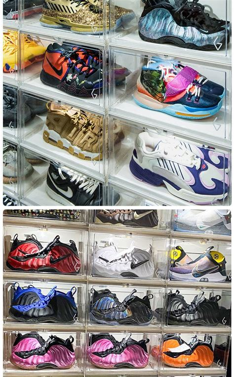 voice activated shoe box  led light storage box side open transparent sneakers organizer