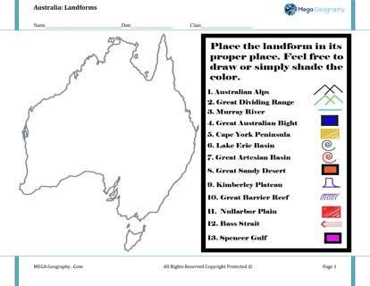 landforms in australia worksheet mega geography