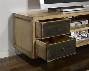 meuble tv vintage 4 tiroirs en chene massif de style With meuble tv chene massif contemporain