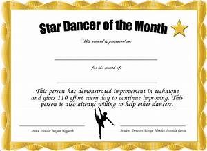 star dancer of the month certificate created with With star of the month certificate template