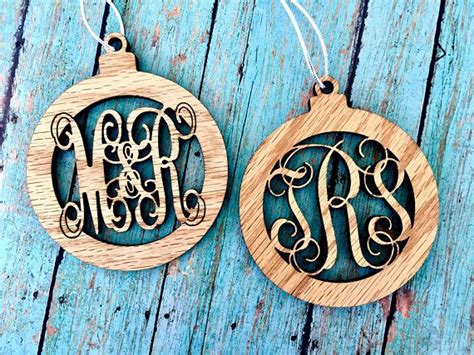 personalized wooden monogram christmas ornament