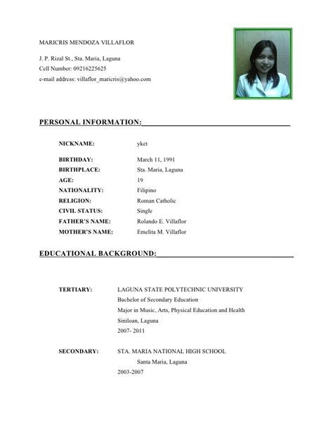 Curriculum Vitae Format For by Curriculum Vitae Format For Students Guatemalago
