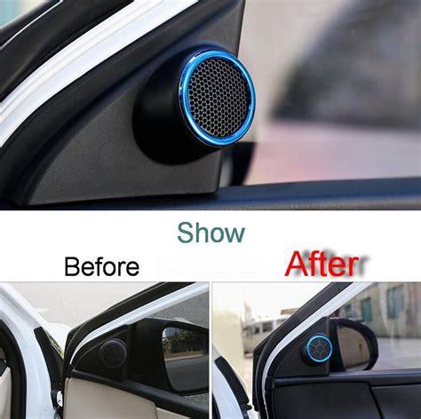 pcs diy car styling stainless steel tweeter speaker