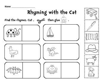 rhyming with the cat cut and paste activity rhyming