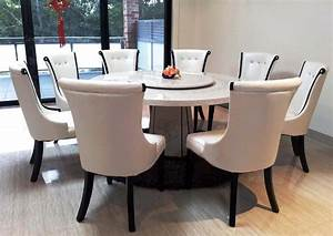 Marble Top Round Dining Table And 8 Chairs With Sliding