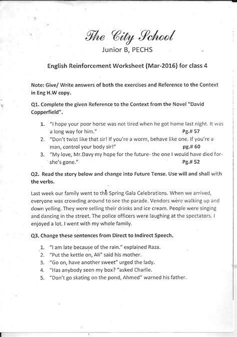 the city school worksheet for class 4 science s s t