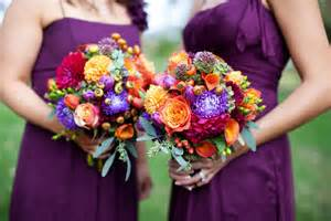 Purple and Orange Fall Wedding Flowers