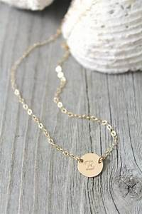 14k gold filled initial disc necklace personalized for Custom letter necklace gold