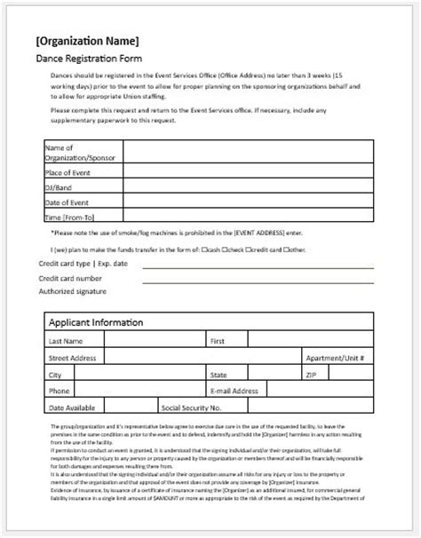 dance registration forms  ms word word excel templates