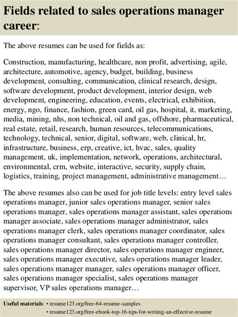 top 8 sales operations manager resume sles