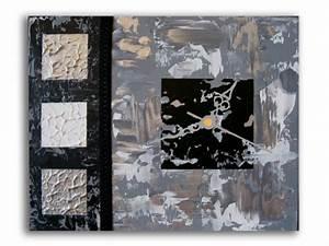 Tableau Moderne Noir Et Blanc : tableau peinture tableau horloge noir moderne tableau horloge noir et blanc gris ~ Teatrodelosmanantiales.com Idées de Décoration