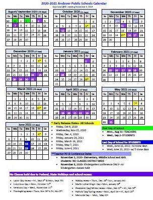 school year calendar   andover public schools