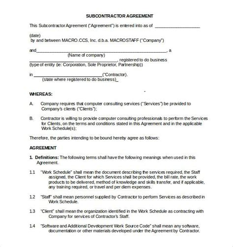 subcontractor  compete agreement sample word