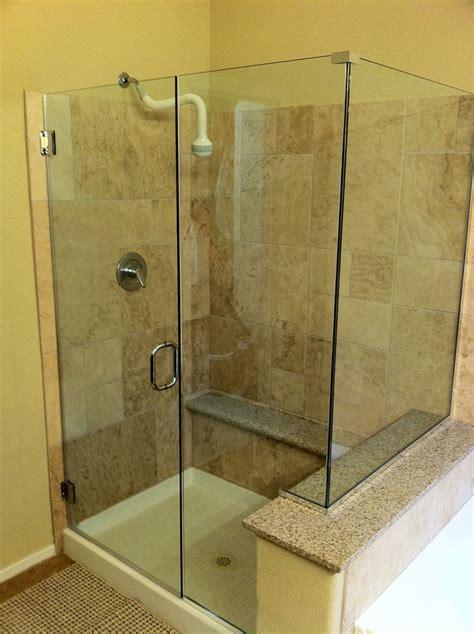 glass corner shower  pony wall bathroom remodel