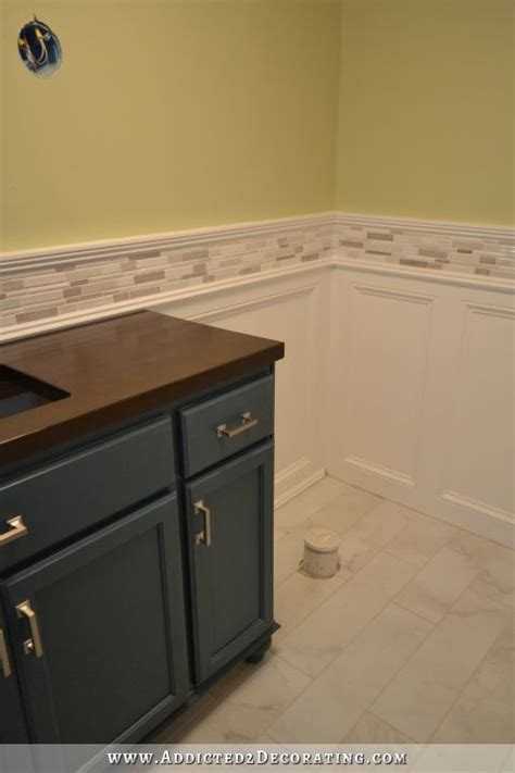 finished recessed panel wainscoting judges paneling with mosaic tile accent