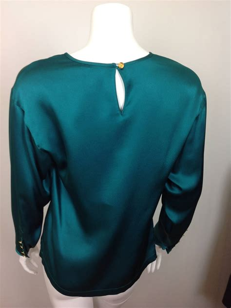 teal blouses chanel teal silk charmuse blouse at 1stdibs