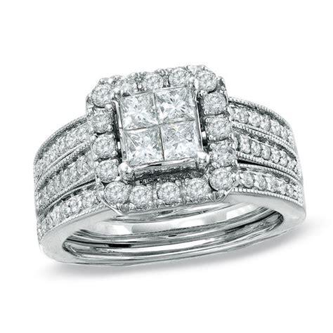 1 1 2 ct t w princess cut diamond bridal in 14k white gold engagement rings