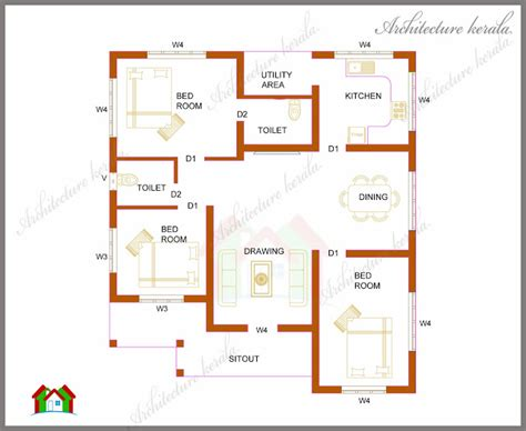 home plan com architecture kerala three bedrooms in 1200 square